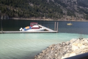 "A white ""hazardous' substance flowed into Kootenay Lake Monday afternoon near the Prestige Inn Lakeside Resort. — Submitted photo"