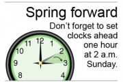 Clocks go ahead at 2 a.m. Sunday . . . or before people go to sleep Saturday night.