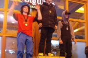 Finn Megale (red shirt) picked up another silver medal during the recent at the BC Provincial Snowboard Cross finals at Big White Resort. — Submitted photo