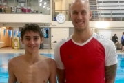 Ian Markus stand for a photo with former Canadian Olympian Brent Hayden. — Submitted photo