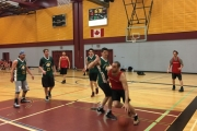 Nelson Toyota (red) drove to the basket without much resistance during Monday's WKMBL Championship at Selkirk College in Castlegar.