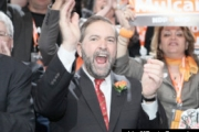 A jubilant Thomas Mulcair celebrates victory.