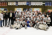Members of the Selkirk Saints were grinning from ear to ear during the team photo after clinching the fourth consecutive BCIHL Crown Saturday in Castlegar. — Bob Hall photo, Selkirk College