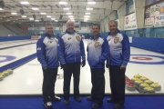 Team BC, consisting of (from left) Skip Bob Ursel and third Dave Stephenson, both of Kelowna, second Don Freschi of Trail and lead Fred Thomson of Nelson, advanced to the Championship Round at the 2016 Canadian Senior Men's Curling Championships Wednesday in Digby, Nova Scotia. — Submitted photo