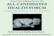 A chance to see how the Nelson/Creston candidates feel about Health Care Thursday at the Hume Hotel.