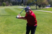 Ely Overennay from Castlegar teed it up at his first-ever West Kootenay Junior Golf Circuit event. — Submitted photo