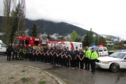 Students from throughout the West Kootenay joined members of Nelson Police Department, Nelson RCMP, Nelson Fire Rescue, Nelson Search and Rescue, and BC Ambulance for a team photo during the weekend Emergency Services Camp. — Submitted photo