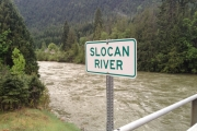 The Slocan River was moving fast under the Slocan Park bridge prior to the rains Monday night. — The Nelson Daily photo