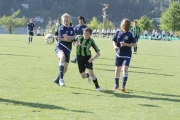 Nelson U16s (blue) double teamed the opposition during action Saturday at the Terry Walgren Youth Soccer Tournament. — Bruce Fuhr, The Nelson Daily