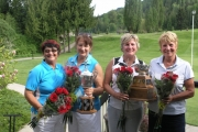 The Tournament of Roses Champions, pictured L-R,: Low Net — Sandra Roy and Maureen Crawford, 59; Low Gross — Roma Crispin and Sherry Hartridge, 79. — Photo courtesy Granite Pointe at Nelson Golf Course