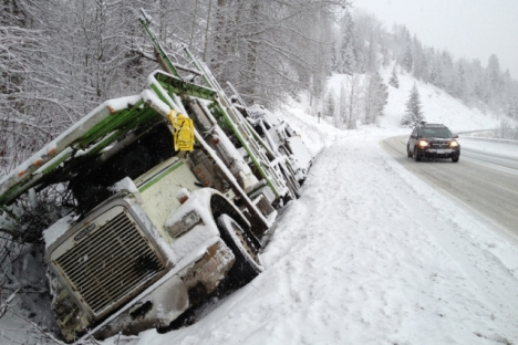 Friday afternoon near Bonnington on Highway 3A west of Nelson commuters saw an auto-transport semi trailer in the ditch after the driver lost control before stopping in the ditch. — Bruce Fuhr photo
