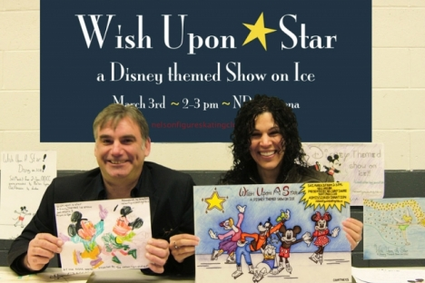 Capitol Theatre's Neil Harrower and musician and vocalist Allison Girvan display entries for the Nelson Figure Skating Club's Wish Upon A Star Poster Contest. — Submitted photo