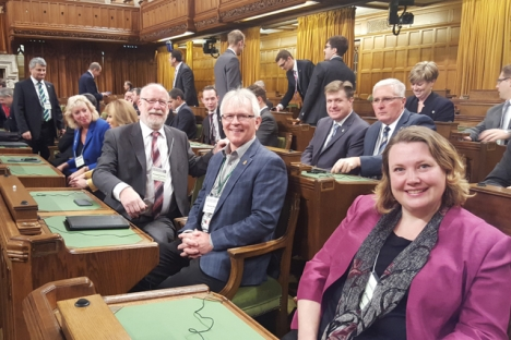 MP for Kootenay Columbia, Wayne Stetski (center) gets acquainted with the House of Commons with his NDP colleagues. — Photo submitted January 5, 2016
