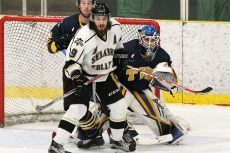The Selkirk College Saints season came to an end on the weekend after the Trinity Western University Spartans won the semi-final series 2-0. Ryan Edwards (seen here) and the Saints were gunning for a fifth straight BCIHL championship. (photo courtesy Scott Stewart/Trinity Western University). — Selkirk College photo