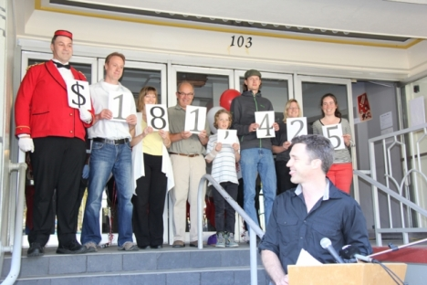 Civic Theatre Society spokesperson Roger Ley looks back as the final tally is unveiled during Wednesday press conference. — Bruce Fuhr photo