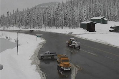 The Kootenay Pass Thursday morning shows snow accumulation on the sides of the highway. — Photo courtesy Drive BC