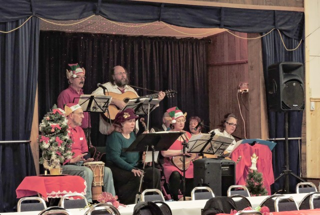 Moon Family Band and The Celtic Kitchen Party plays at the first Kaslo Community Dinner and Celebration. — Submitted photo
